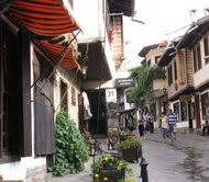 A street lined with antique shops in Veliko Turnovo
