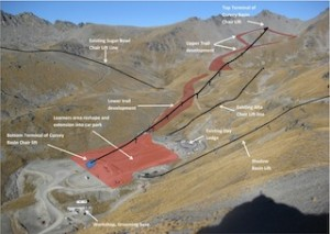 Aerial view of The Remarkables ski area showing existing lift lines and the new proposed Curvey Basin chairlift