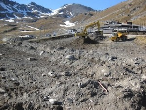 Base Contracting on site at The Remarkables ski area removing top soil from the learners area in preparation for excavations