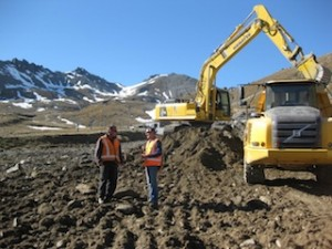Base Contracting supervisor Michael Stroud and The Remarkables ski area manager Ross Lawrence on site as work starts