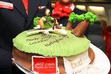 Celebratory cake at Budapest Airport marking launch of Jet2.com service to East Midlands