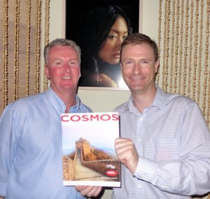 Cosmos Inbound Mananger Australasia, Peter Cooney (left) and Cosmos Marketing Manager Australasia Christian Schweitzer launch the new brochure in Sydney yesterday
