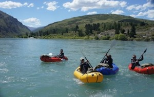 Guests getting ready to set out on the mighty Kawarau River