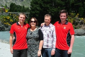 (L to R) Scott, Jan, John and Nick Harris, all from Arrowtown, enjoyed a trip during the Shotover Jet locals' day. Scott and Nick both work in customer services.