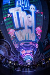 """Fremont Street Experience debuts its newest Viva Vision(R) show The Who - Miles Over Vegas in Downtown Las Vegas. The new light and sound show is built around the music of legendary rock band The Who and includes three of the band's most iconic songs - """"I Can See for Miles,"""" """"Pinball Wizard"""" and """"My Generation"""" - custom synced to stunning graphics including live music footage, album art, performance footage and more. The Who - Miles Over Vegas airs nightly at 10 p.m. as part of the ongoing Viva Vision(R) show schedule. Viva Vision(R) shows air nightly and are free to the public. www.vegasexperience.com. (PRNewsFoto/Fremont Street Experience)"""