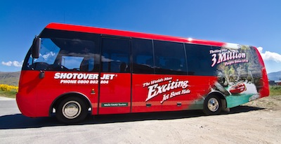 Shotover Jet's new 32 seater coach will transport passengers to the river base in compete comfort_media