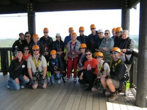 The group all geared up for Ecozip Adventures Waiheke Island