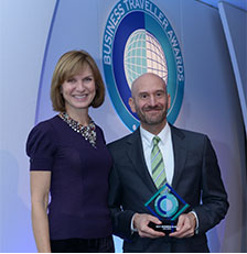 Paul Johannes, VP Commerical Europe accepting the Best Business Class Award on behalf of Qatar Airways at the Business Traveller Awards 2013.