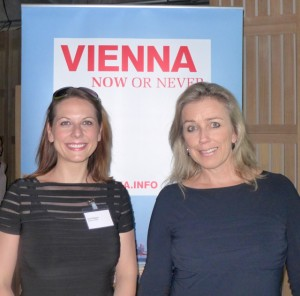 Ursula Sigrid Wagner of Hotel Sacher with Astrid Mulholland-Licht, Austria National Tourist Office diirector Australia