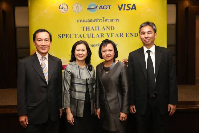 Somboon Krobteeranon (left), Visa Country Manager, Myanmar and Thailand together with Vilaiwan Twichasri (2nd left), Deputy Governor for Tourism Products and Business, Sirote Duangratana (right), Senior Specialist, Airports of Thailand Public Company Limited, and representative from the Bangkok Metropolitan Administration presided over the first launch of the Thailand Spectacular Year End 2013 which was held at the TAT headquarters in Bangkok to support tourism spending in Thailand, and to meet the travel needs of tourists at every step of their journey to the Kingdom – from planning, arrival, at destination and departure.