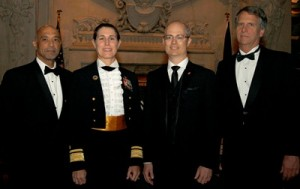 NMHS Gala Awards Dinner Honorees (L-R): Richardo Lopes, trustee, NMHS;  RADM Sandra L. Stosz, superintendent, United States Coast Guard; Stanley Birge,  vice president, North America, Cunard Line; Stan Honey, director of technology,  America's Cup Event Authority