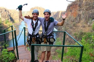 Marko and Alex braved the zipline at Victoria Falls in Zimbabwe