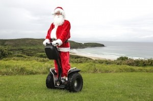 Santa on a Segway on South Coast
