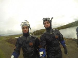 The Vagabrothers brave the ice cold water snorkelling in Iceland