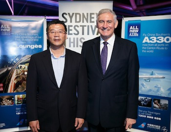 China Southern Airlines' Henry He with NSW Tourism Minister George Souris