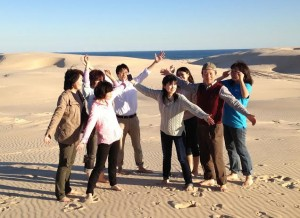 Chinese visitors on Port Stephens sand dunes