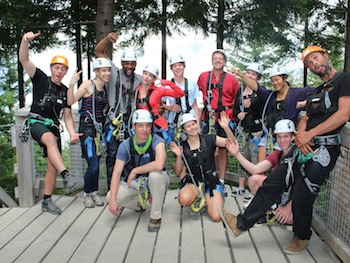 US Dancer Stephen Boss cracks a funny with his Ziptrek Ecotours group