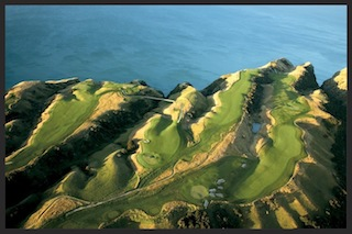 Holes 12-17 at Cape Kidnappers, with Hawkes Bay beyond (and some 100 meters down).