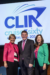 Carnival Australia CEO Ann Sherry, CLIA Australasia Chairman and Royal Caribbean Managing Director Gavin Smith, CLIA President and CEO Christine Duffy