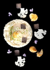 Cauliflower Risotto with Roasted Scallop Coral