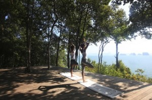 Complimentary yoga and stretching classes at the Yoga Platform , Six Senses Yao Noi