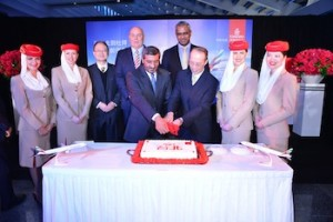 Cutting a ceremonial cake to mark the inaugural flight. From left to right: Edwin Lau, Emirates Vice President Hong Kong & Taiwan; Barry Brown, Emirates Divisional Senior Vice President, Commercial Operations East; His Highness Sheikh Ahmed bin Saeed Al-Maktoum, Chairman and Chief Executive, Emirates Airline & Group; Nabil Sultan, Emirates' Divisional Senior Vice President, Cargo and Mr Yin Chen-Pong, Chairman of Taipei Taoyuan Airport Authority.