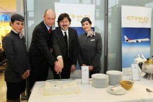 Official's taking part in the Etihad Regional cake-cutting ceremony at Stuttgart Airport in Germany included: (left to right) Joerg Im Wolde, Director Sales and Marketing, Stuttgart Airport and Mario Tesla, Head of Sales, Darwin Airline.