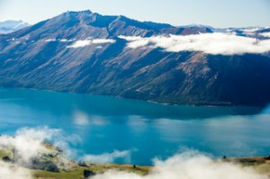 Flying over Lake Wakatipu, going towards Dart and Rees Valley