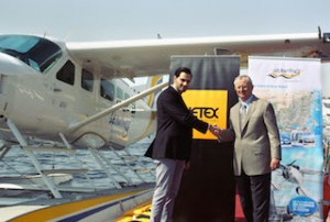 L to R Ahmad Badreddine Station Manager at Jetex celebrates new partnership with Stuart Wheeler CEO of Seawings