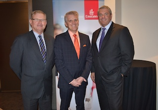 Tim Harrowell, Bryan Banston of Emirates and Steve Limbrick from Qantas ...