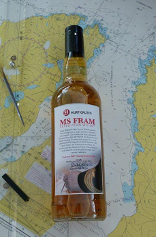 "The ""MS Fram Expedition Whisky"" limited edition bottle. The single malt will carry its own, unique label and will be available to purchase on-board later this year, complete with a whisky diary and a certificate"