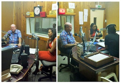 Minister Alain St.Ange and Ms Sherin Naiken at the Radio Station with Presenter Jules Hoareau.
