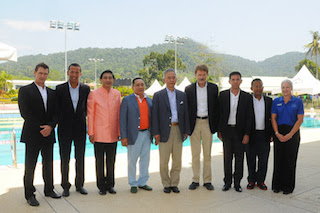 From left: CEO Thanyapura Phuket, Michael Gilliam; Executive Chairman Chris McCormack, K. Maitree Inthusut; Vice President Lawn Tennis Association of Thailand, Lt. Gen Thawatchai Samutsakorn; K. Suwat Liptapanlop; Thanyapura Founder and Director, Klaus Hebben; Phuket Director of Sports Authority of Thailand, Virat Patee; Netipong Wichitwechakarn, Managing Director of Royal Advocate international Ltd; and Director of Marketing Debbie Dionysuis.