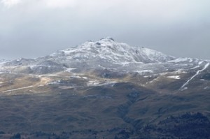 A dusting of snow at Coronet Peak today (Monday March 3) - a reminder that winter is on its way. Credit Trish May_media