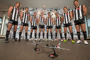Collingwood Football Leadership team with Emirates airplane models after announcing a five year re-signing premier sponsorship with Emirates
