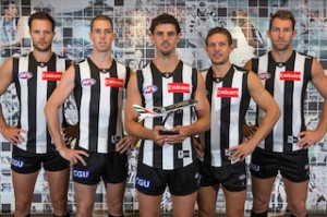 Collingwood Footballers Nathan Brown, Vice-Captain Nick Maxwell, Captain Scott Pendlebury, Luke Ball and Travis Cloke