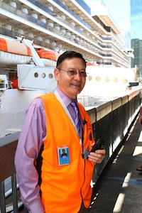 Chris Ponting is pictured at the Overseas Passenger Terminal in Sydney during a recent visit from P&O Cruises World Cruising Arcadia.