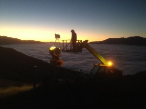 Electrician Wesley Sayer does some early morning testing of the new Halide Metal lights at Coronet Peak