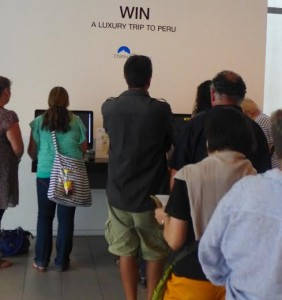 Exhibition visitors queue for chance to win Chimu Adventures luxury trip to Peru