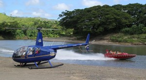 Helicopter transfering passengers to do Sigatoka River Safari