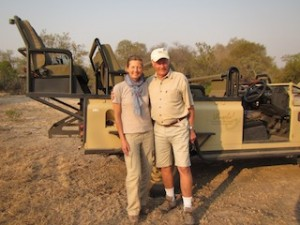 Louise with her dad on safari in South Africa