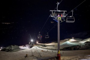 M1 and Coronet Express lit up for Night Skiing