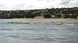 Passing Balmoral Beach soon after the start of the Hawaiian Airlines Sydney Harbour Challenge...