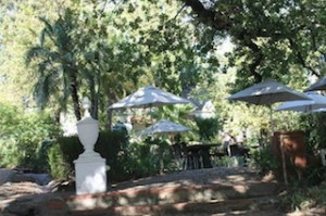 South Africa Muratie Wines delightful garden dining area.RSZ
