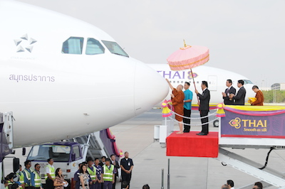 TG037-THAI Holds Aircraft Anointing Ceremony for Airbus A330-300 and Boeing 777-300ER