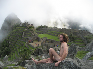 Tourist Amichay Rab poses naked at Machu Picchu - from his website