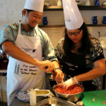 Billy Law (A Table For Two) and Helen Yee (Grab Your Fork) at JW Marriott Marquis' Positano Coastal Italian's Masterclass
