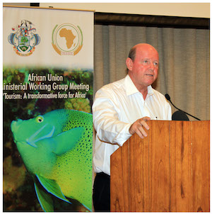 Alain St.Ange, the Seychelles Minister for Tourism and Culture addressing the African Union Ministerial working Group meeting in Seychelles