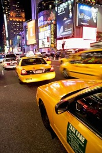 Taxi cab in Times Square, New York City