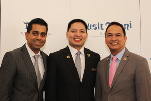 Mr. Prateek Kumar, General Manager – Dusit Thani Dubai, Mr. Arnulfo Guinto, Chief Concierge – Dusit Thani Dubai and Mr. Charles Ferrer, President – Les Clef d'Or UAE